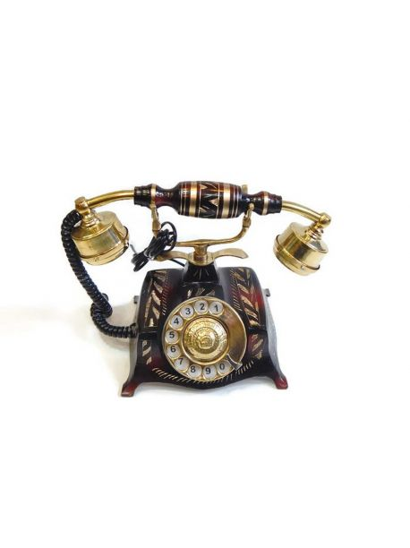 ANTIQUE VINTAGE BRASS TELEPHONE ROTARY DIAL FULLY WORKING