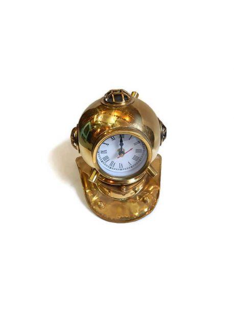 Vintage Style Copper Brass Diver Diving Helmet Clock Nautical Decor 8 inches