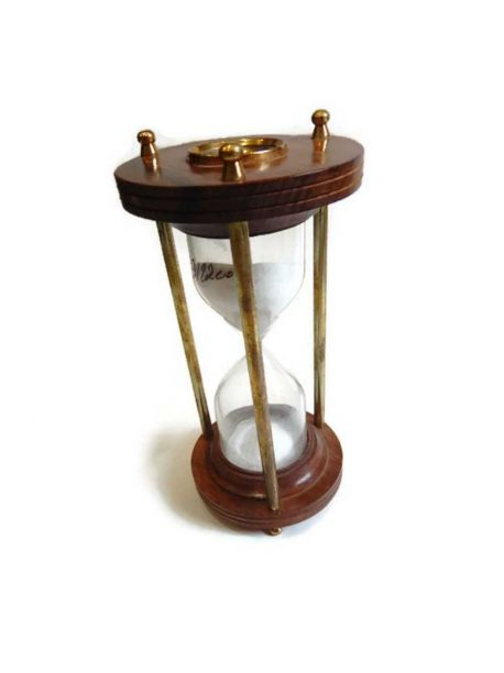 Nautical Maritime Hourglass Sand Timer With Working Compass 7 inches