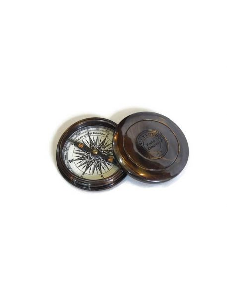 Nautical Vintage Brass Poem Compass 3 Inches Marine Collectible