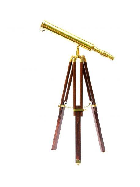 Vintage Brass Nautical Antique Marine Navy Telescope Wooden Tripod