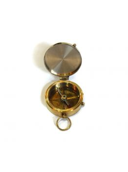Vintage Brass Pocket Compass Nautical Decor Hiking