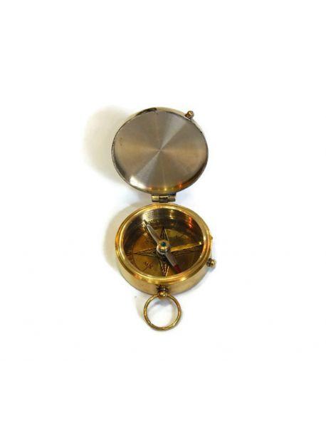 Vintage Brass Pocket Compass Nautical Decor Hiking