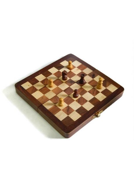 Indian Walnut Style Magnetized Staunton Wood Chessmen Chess Set 7 inches