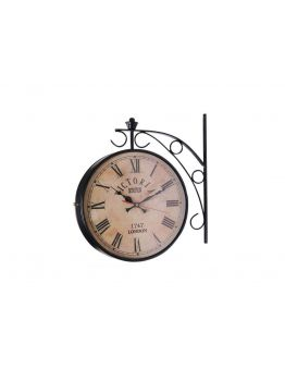 Black Iron Vintage-Inspired Round Double-Sided Wall Hanging Clock