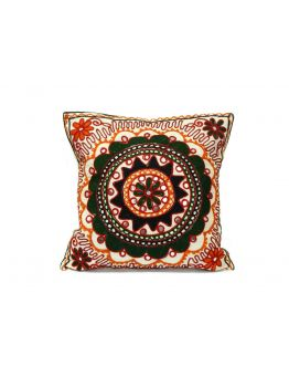 White Cushion Covers Zari Embroidery Set