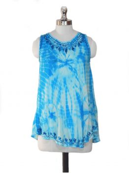 Boho Blue Sleeveless Top