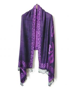 Bano Purple Scarves With Fringe