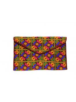 Hand Embroidered Multicolor Vintage Indian Hand Beaded Fancy Clutch Wedding Bag