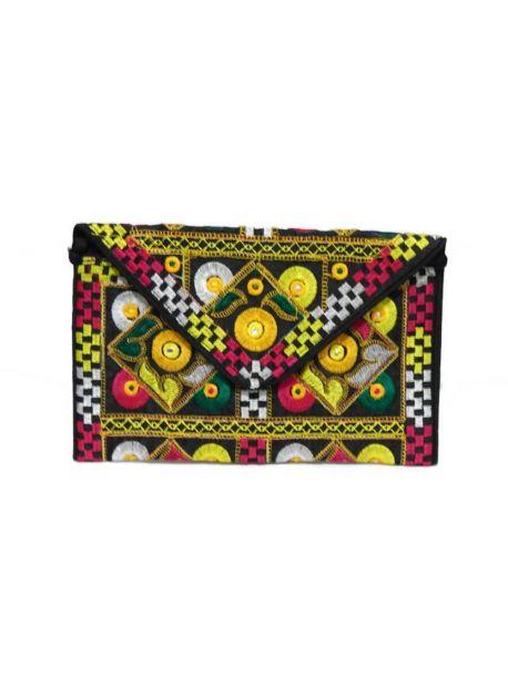 Handmade Evening Clutch Bags Vintage Indian Multicolor Handbag Embroidered Women Purse