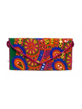 Handmade Multi-Coloured Beaded Vintage Embroidered Indian Clutch Bag