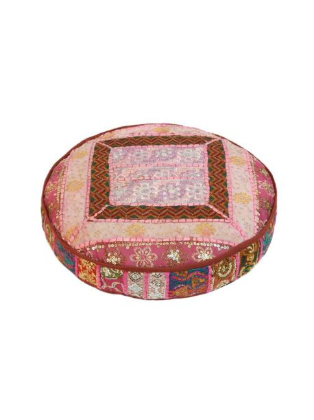 """22"""" inches Patchwork Floor Pillow Round Kantha Ethnic Ottoman Pouffe Cover"""