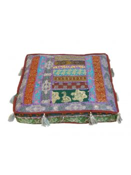 22 inches Indian Floor Cushion Ethnic Pouf Ottoman Art Embroidered Pouffe Foot Stool