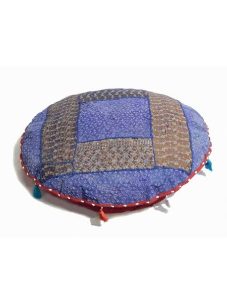 Handcrafted Crochet Pillow Cover Indian Poof Pouffe Foot Stool Floor Pillow Ethnic Decor