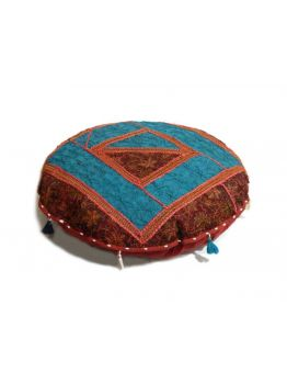 Crochet Cushion Cover Indian Pouffe Poof Round Pouf FootStool Ethnic Decorative Pillow